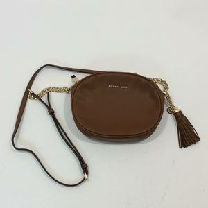 Michael Kors brown leather round crossbody bag